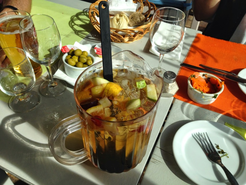 White Sangria with Antipasti Carrots & Olives