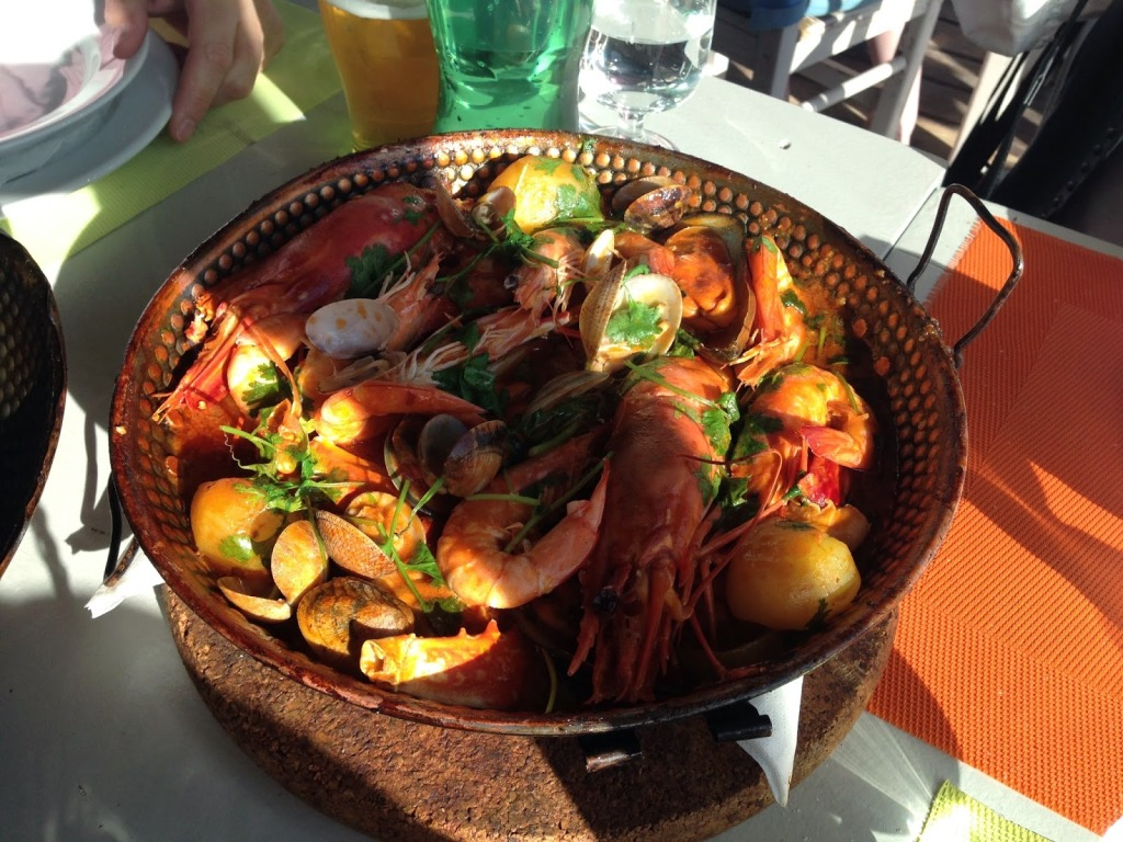 The Seafood Cataplana contains Clams, Prawns, Fish and Potatoes
