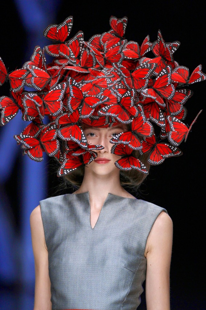 2._Butterfly_headdress_of_hand-painted_turkey_feathers_Philip_Treacy_for_Alexander_McQueen_La_Dame_Bleu_Spring_Summer_2008_copyright_Anthea_Sims
