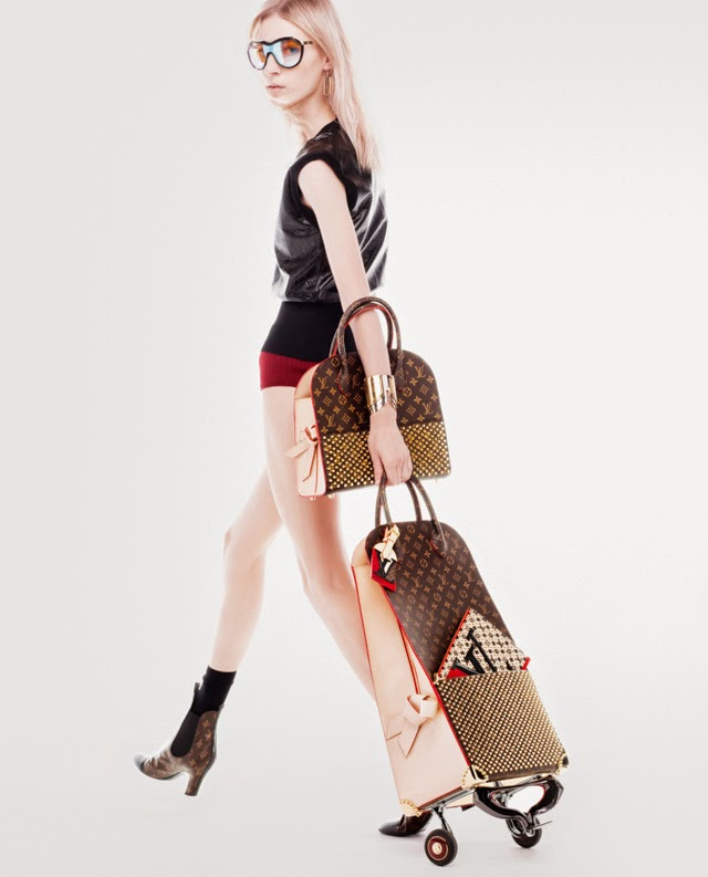 Christian Louboutin obviously was influenced by his red soles and studs, so he created this bag and trolley